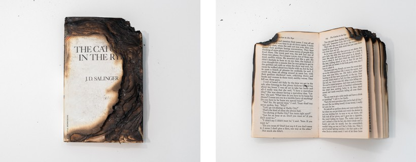 two photographs of a burnt book titled the catcher in the rye