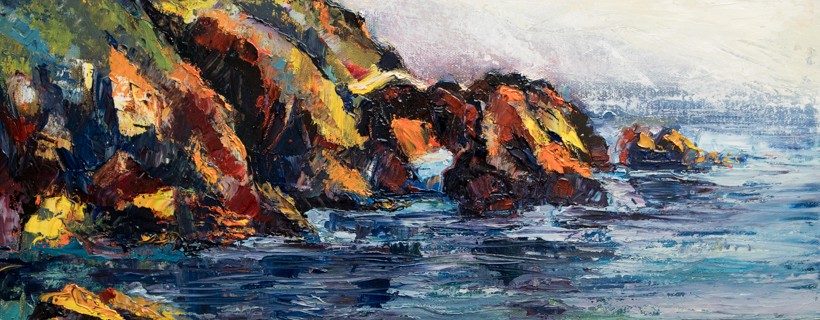 oil painting of rocky seascape