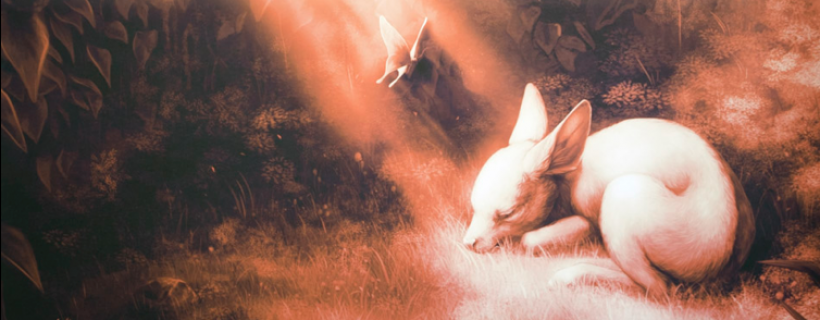 Orange colored illustration of young deer sleeping in a majestical opening in the woods
