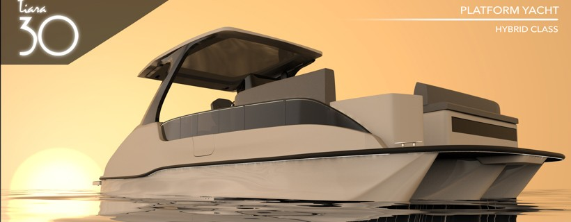 Assorted views and color concepts for a futuristic style open cabin boat