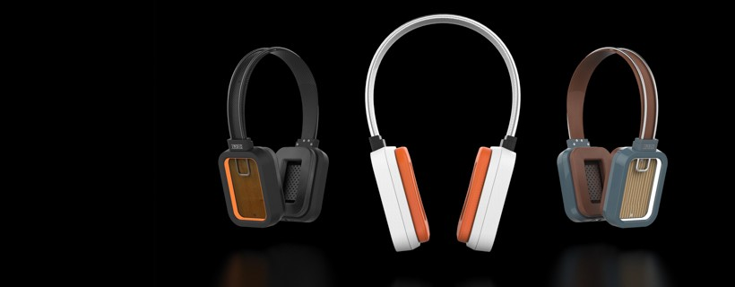 Three headphones against a black background