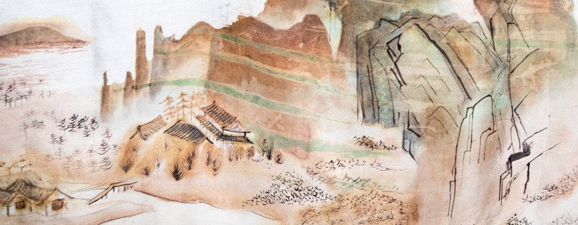 Chinese style landscape painted on fabric