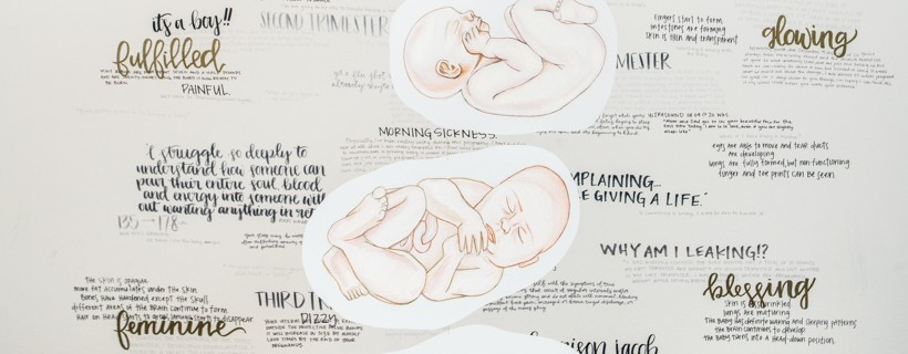 mobile of fetus drawings in front of wall of text phrases