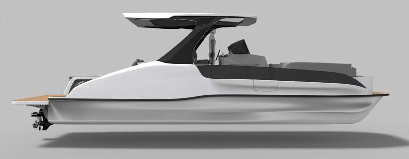 Side view digital rendering of pontoon boat