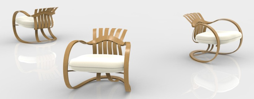computer rendering of three views of wood framed chair
