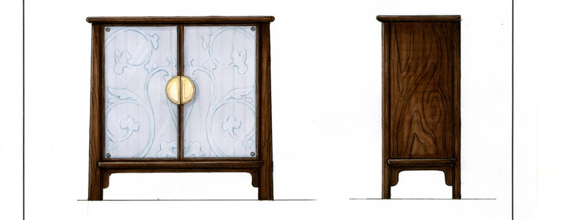drawings of accent cabinet in dark wood