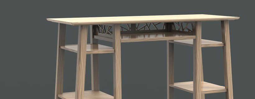 computer rendering of asian occasional table in light wood