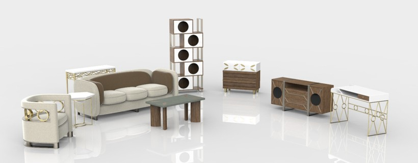 computer rendering of whole occasional furniture set