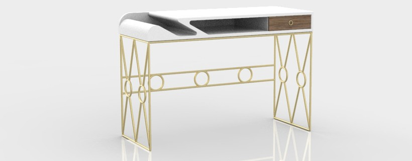 computer rendering of white and gold occasional table