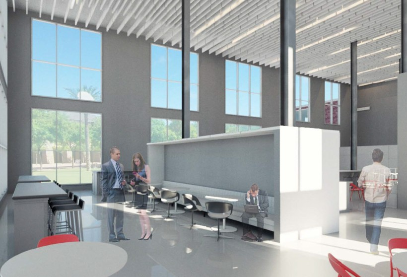 Digital Rendering Of Large Open Office With Windows
