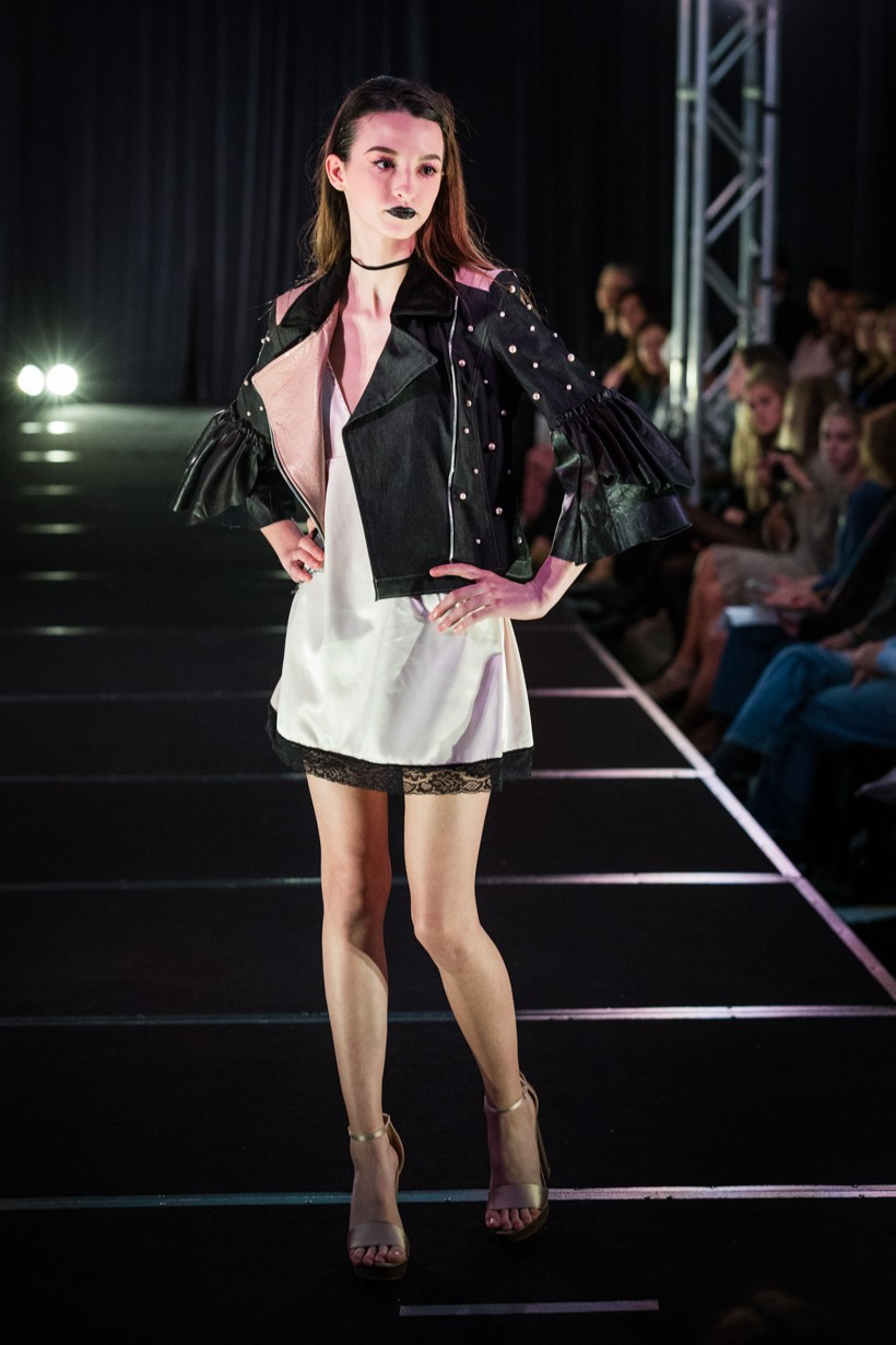 Black Leather Jacket With Pink Polkadots And White Dress Underneath