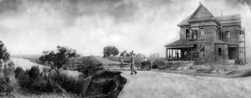 Black and white composite photo of large Victorian house under construction in country setting