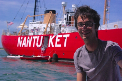 Eitel posing in front of the famous Nantucket Lightship