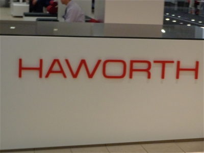 Haworth showroom sign