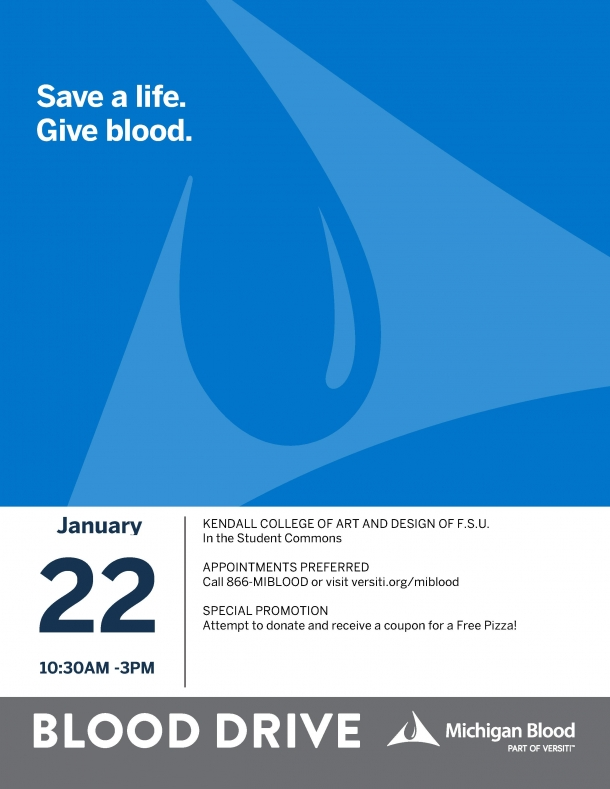 Blood Drive poster listing date, location, time.