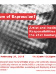 Freedom of Expression event poster. Event title over halftone dot image of lower half of person's face, 3/4 view.
