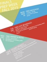 Image with color blocks overlayed with text that describe each of the free events available to during Finals Prep Week.