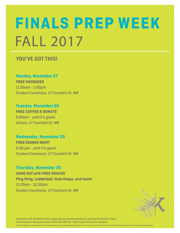 Free massages on November 27, 2017 from 11am - 1pm in the Student Commons.