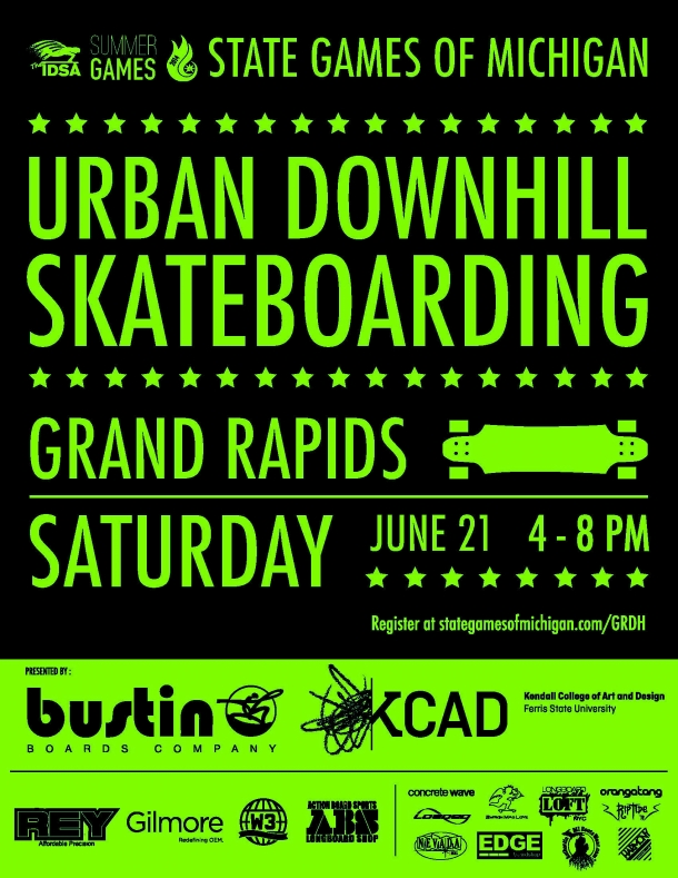 State Games of Michigan Urban Downhill Skateboarding Sponsored by Kendall College of Art and Design, June 21, 2014