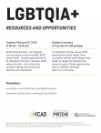Poster for LGBTQUIA+ Resources and Opportunities listing date, time, location, and summary.