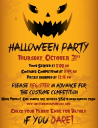 This image is a poster that details the date, time, location of the Halloween Party and the Costume Competition.