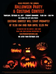 Halloween Party and Costume Contest on Thursday, October 26, 2017. Student Commons. 11am - 1pm. Free lunch.