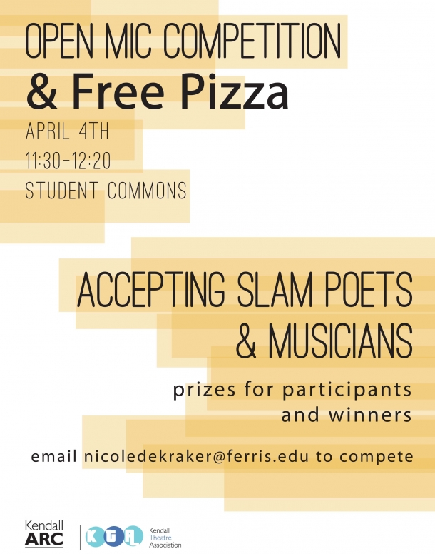 Image is a poster that describes the open mic competition.