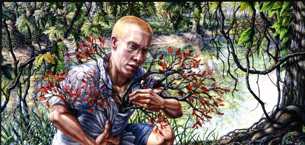 Painting of a man in the woods with branches coming out of the figure's shirt collar and sleeves