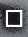 abstract painting. White square on a field of grey with black speckles