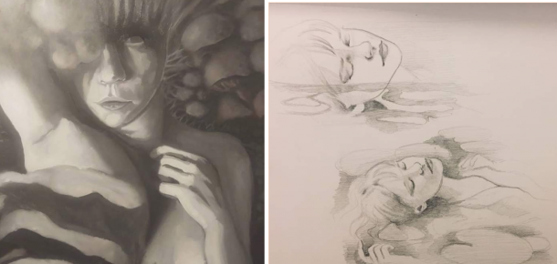 details of two in-progress drawings from exhibition