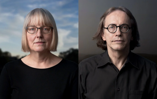 color photograph portraits of Nancy Skolos and Thomas Wedell