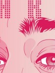detail of illustration by artist María María Acha-Kutscher, magenta and white, eyes and forehead with the word MARIA overlaid