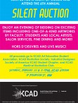Poster graphic for the Silent Auction listing date, location, and activities.