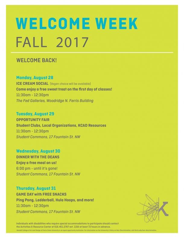 Kendall College Of Art And Design Fall  Calendar