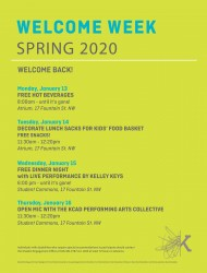 Welcome Week poster listing events, dates, locations, times.