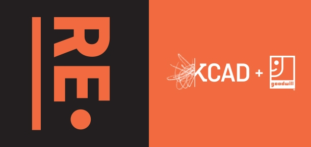 Exhibition Title in Orange on top a black square next to white logos for KCAD & Goodwill on Orange