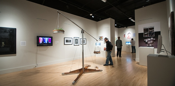 Gallery shot of the 2014 Excellence Awards showcasing work by graduating students from each BFA program.