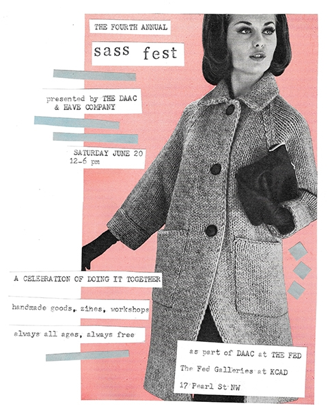 Image of a woman from a vintage catalog collaged over a pink block with text about the event.