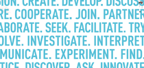 Text from cover of New Programs brochure: Create. Develop. Discuss. Cooperate. Join. Partner. Collaborate. Seek. Facilitate. Try