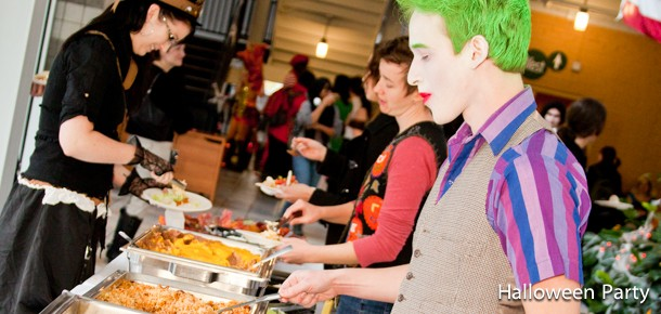 Students getting free meal at Annual Halloween Party (2011).