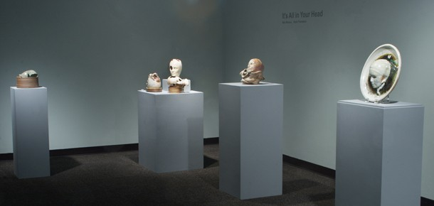 Gallery view of ceramic heads. It's All In Your Head, Spring 2011