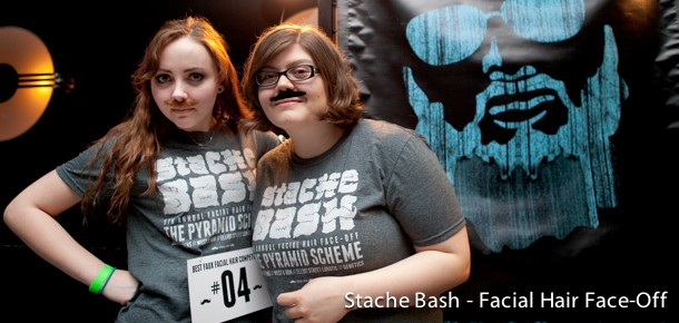 Student Organizers of Stache Bash, an annual real and faux facial hair face off.