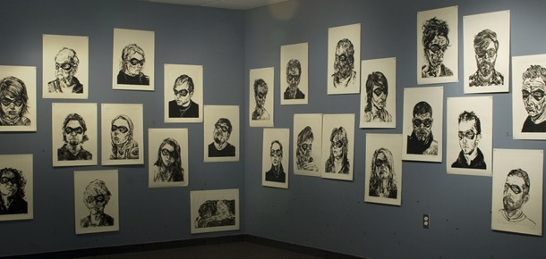 Gallery view of printmaking portraits, In All of Us a Hero, Spring 2009
