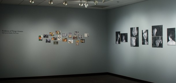 Gallery view of small photographs and drawings in Evidence of Things Unseen, Fall 2009