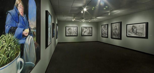 Gallery view of large figurative paintings and drawings in Awareness, Perception and Perfection, Fall 2011