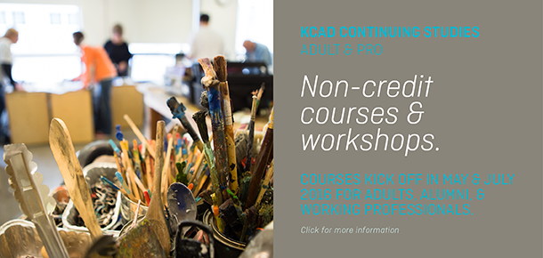 Non-credit courses and workshops for adults and professions begin in May and July, 2016. Offered by the KCAD Continuing Studies Department.