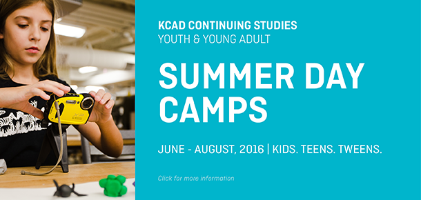 Youth Day Camps run weekly June 13-August 19. Offered by the KCAD Continuing Studies Department.