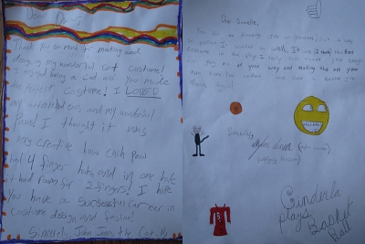 Letters of thanks from ERMS students