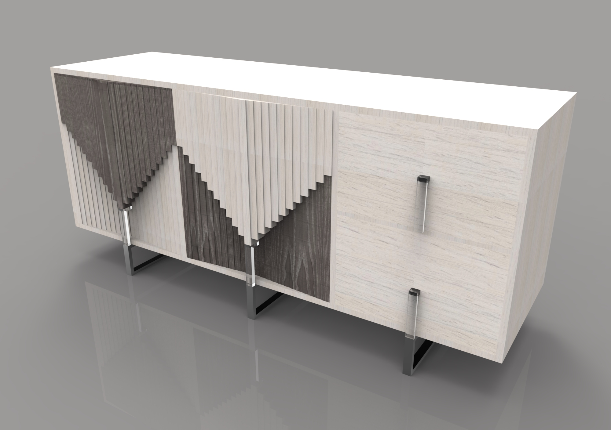 rendering of a credenza designed by Patti Men in the KCAD Furniture Design program