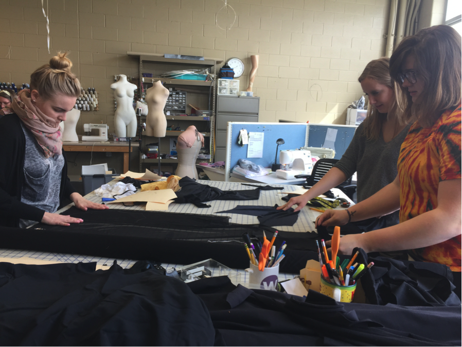 The construction group working on leotard prototypes